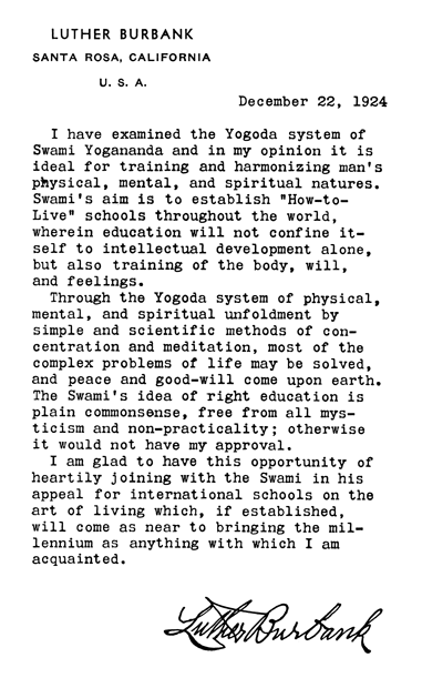 Letter from Luther Burbank