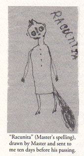 A drawing of a tall, upright racoon wearing a dress