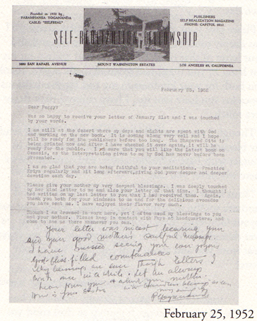 Letter from Mater to Peggy Dietz