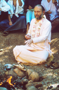 Swami leading fire ceremony