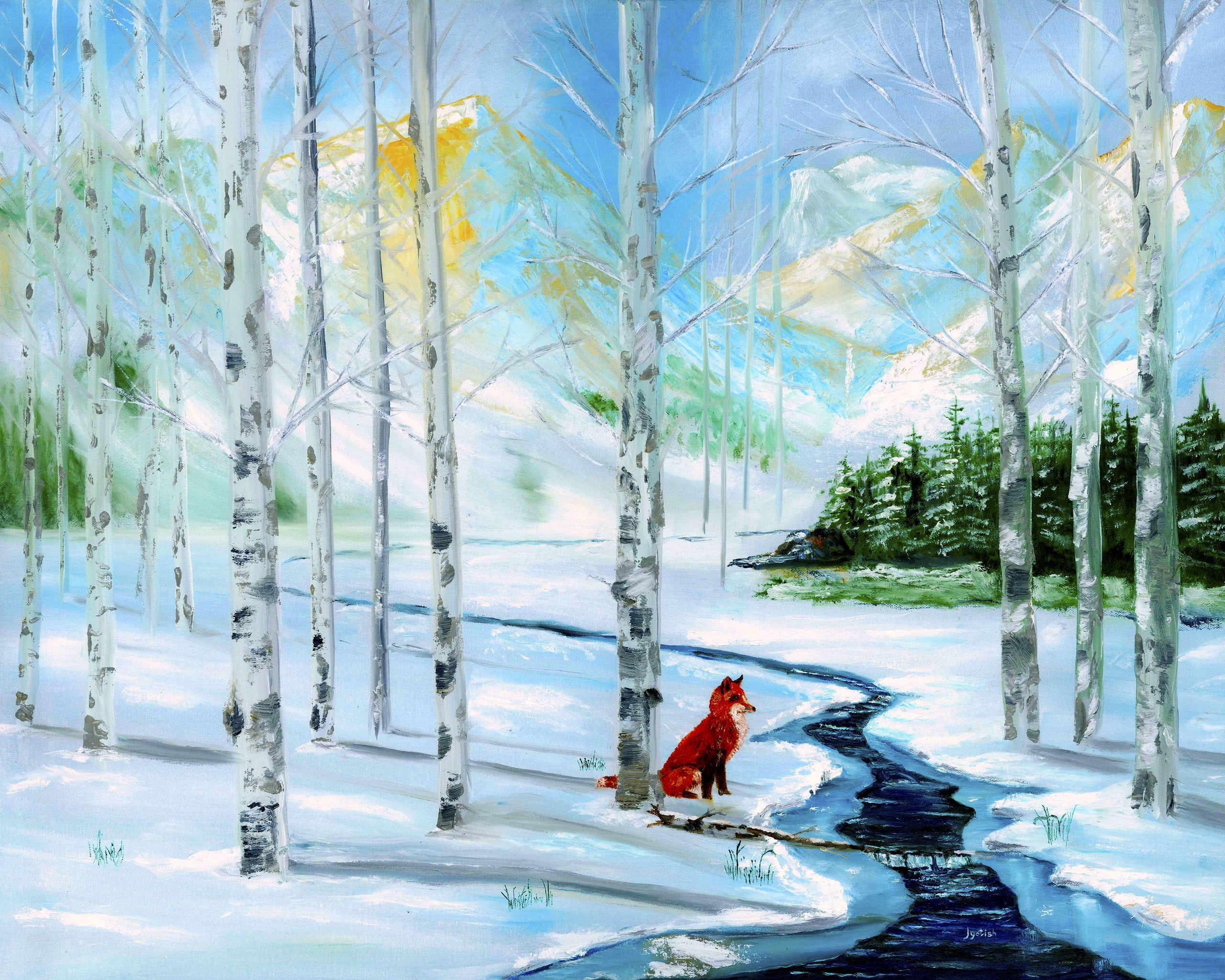 jyotish art paintings christmas morning snow, true meaning of christmas
